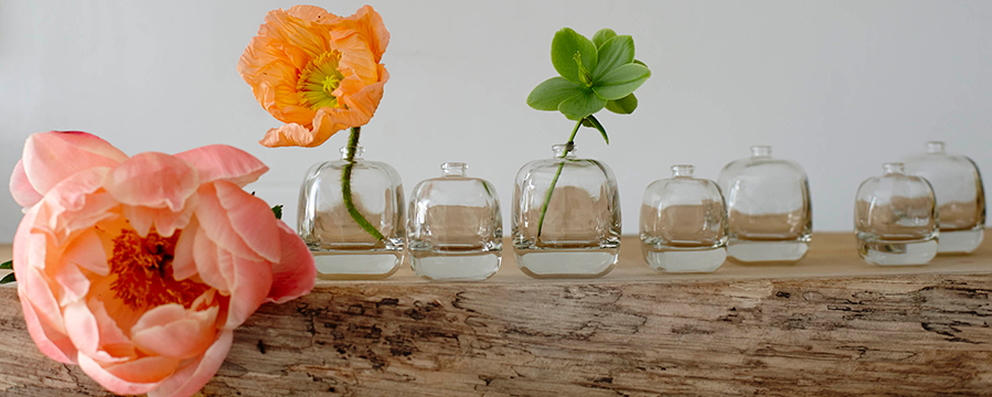 Babel Perfume empty bottles with flowers